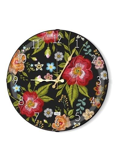 The Mia Duvar Saati - Floral B 35 Cm Renkli